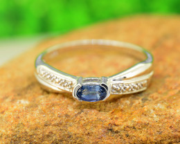 Natural Blue Sapphire  Size  8 US, 925 Sterling Silver Ring (SSR0613 )