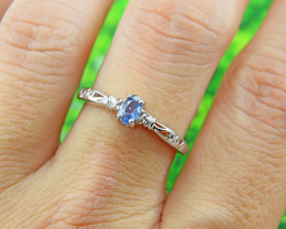 Natural Blue Sapphire Size 7 US, 925 Sterling Silver Ring (SSR0616)