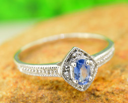 Natural Blue Sapphire 925 Sterling Silver Ring Size 8 (SSR0636 )