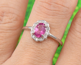"Natural Tourmaline, ""Size - Adjustable""  925 Sterling Silver Ring (TM03)"