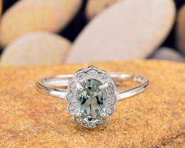 "Natural Tourmaline, ""Size - Adjustable""  925 Sterling Silver Ring (TM04)"