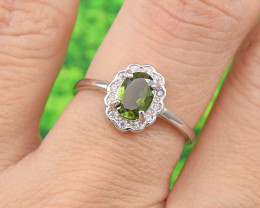 "Natural Tourmaline, ""Size - Adjustable""  925 Sterling Silver Ring (TM05)"