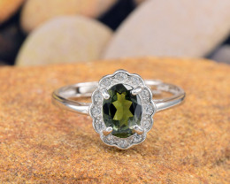 "Natural Tourmaline, ""Size - Adjustable""  925 Sterling Silver Ring (TM07)"