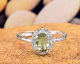 "Natural Tourmaline, ""Size - Adjustable""  925 Sterling Silver Ring (TM08)"