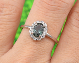"Natural Tourmaline, ""Size - Adjustable""  925 Sterling Silver Ring (TM09)"