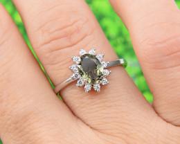 "Natural Tourmaline, ""Size - Adjustable""  925 Sterling Silver Ring (TM11)"