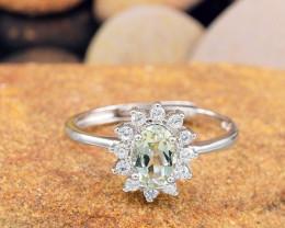 "Natural Tourmaline, ""Size - Adjustable""  925 Sterling Silver Ring (TM015)"