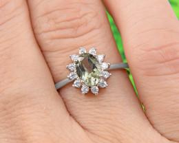 "Natural Tourmaline, ""Size - Adjustable""  925 Sterling Silver Ring (TM016)"