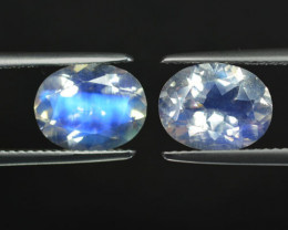4.93Ct Unseen Natural Blue Moonstone Faceted Oval Pair 10 X 8mm