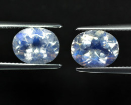4.92Ct Unseen Natural Blue Moonstone Faceted Oval Pair 10 X 8mm