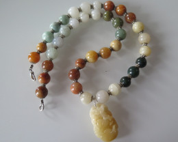 NICE  MULTICOLOR JADE NECKLACE/PENDANT BURMA 48cm