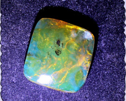 Exquisite Natural Clear Green Blue Amber Cushion Cabochon 30x28x11mm 6.7gra