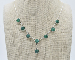 EMERALD NECKLACE NATURAL GEM 925 STERLING SILVER JN89