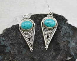 TURQUOISE EARRINGS 925 STERLING SILVER NATURAL GEMSTONE JE173