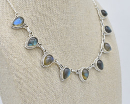 LABRADORITE NECKLACE NATURAL GEM 925 STERLING SILVER JN98