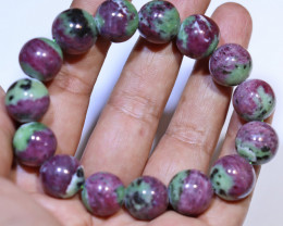 397.95 carats 14mm round (15 beads) Ruby Zoisite ANGC 835