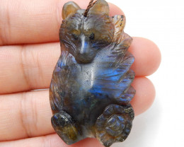 Natural Stone Labradorite hand Carved Bear and Flower Pendant H9519