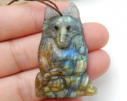 Natural Stone Labradorite hand Carved wolf and Flower Pendant H9520