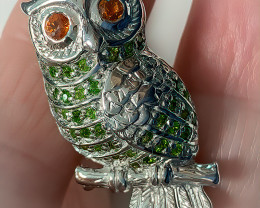 Glamorous Bejewelled Owl Brooch Sapphire Chrome Diopside Gold Sterling Silv
