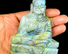 Genuine 1050.00 Cts Golden & Blue Flash Labradorite Buddha Idol