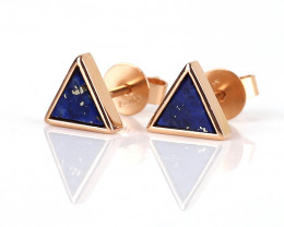 New Design!18k Gold Lapis Lazuli Triangle Earrings , Lapis Lazuli Earrings