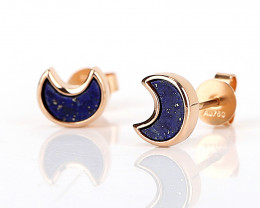 New Design!18k Gold Lapis Lazuli Moon shape Earrings , Lapis Lazuli Earring