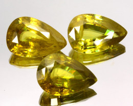 61.44 Cts Dazzling Natural Flashing Olive Green Pear Cut Set Sphene Gem