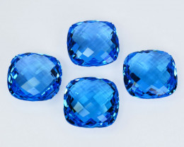 ~SET~ 78.70 Cts Natural Baby Blue Topaz Cushion Checkerboard 4Pcs Brazil