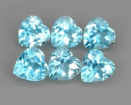 9.00 CTS NATURAL SWISS BLUE TOPAZ HEART COLLECTION 6 PCS