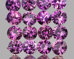 2.30 mm Round 16pcs 1.03cts Unheated Lavender Pink Sapphire [VVS]