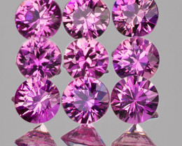 2.70 mm Round 9pcs 0.86cts Unheated Lavender Pink Sapphire [VVS]