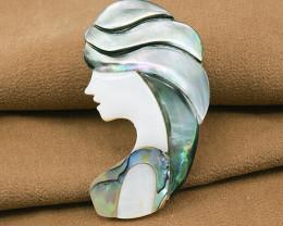 Handmade' Elegant Lady' Abalone & Mother-of-pearl Brooch
