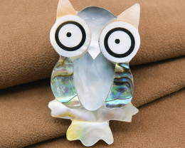 Handmade 'Owl' Abalone & mother-of-pearl Brooch
