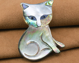 Handmade 'Kitty' Abalone & Mother-of-pearl Brooch