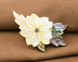 Handmade Floral Abalone & Mother-of-pearl Brooch
