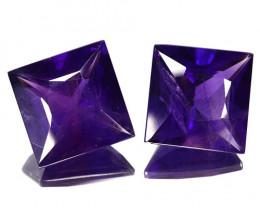 18.60 Cts Natural AAA Purple Amethyst 2Pcs Princess Cut Bolivia
