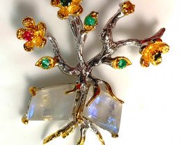 Moonstone Emerald Tree Pendant 14kt Gold Sterling Silver - Brand new
