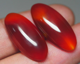 20.55 CRT YELLOWISH BROWN TRANSLUCENT PAIR CARNELIAN AGATE