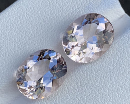 6.76 Carats Morganite Gemstones Pairs