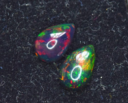 1.70 Carats Pair Of Top Grade Stunning Full Fire Ethiopian Smoked Opal Cabo