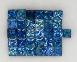 4.01 ct. 2.5-2.7mm. NATURAL GEMSTONE BLUE SAPPHIRE PRINCESS CUT 31PCS.