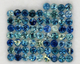 4.03 ct. 2.3 mm. NATURAL GEMSTONE MULTI COLOR SAPPHIRE DIAMOND CUT 67PCS.