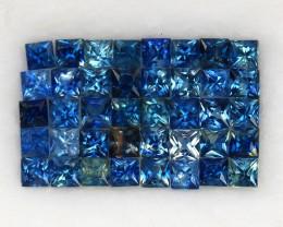 4.06 ct. 2.3-2.4 mm. PRINCESS CUT BLUE SAPPHIRE NATURAL GEMSTONE 40PCS.