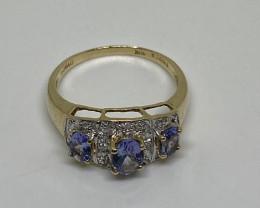 (3) Stunning $1700  Nat. 0.90 ct  Designer Tanzanite & Diamond Gold Ring