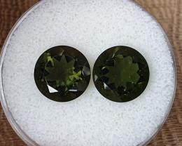 7,40ct Moldavite pair - Natural faceted Tektite!