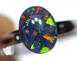 STUNNING MOSAIC TRIPLET OPAL WITH ADJUSTABLE RING 76