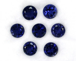 4.75 Cts Natural Deep Blue Iolite 6mm Round 7 Pcs Parcel Tanzania