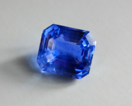 9.52ct Emerald Cut Blue Sapphire, Unheated