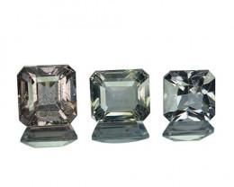 2.67 Cts Natural Silver Grey Spinel 3Pcs Octagon Cut Sri Lanka