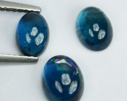 3.23 Cts Natural Blue Tourmaline 3Pcs Cabochon Mozambique Gem
